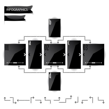 光沢のあるブラック パネルの文字と数字のプレゼンテーション  イラスト・ベクター素材