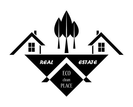 Real estate in eco clean place illustration