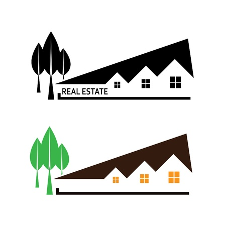 restoration: Real estate illustration house and tree on white background