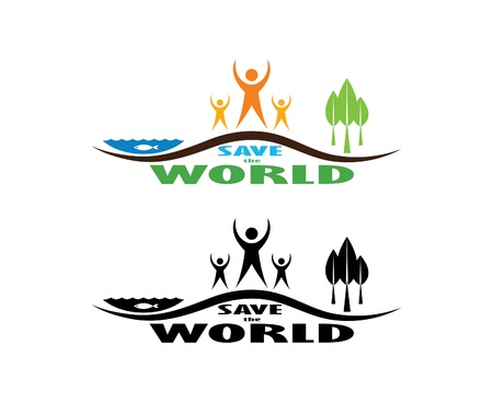 Save the world illustration Vector