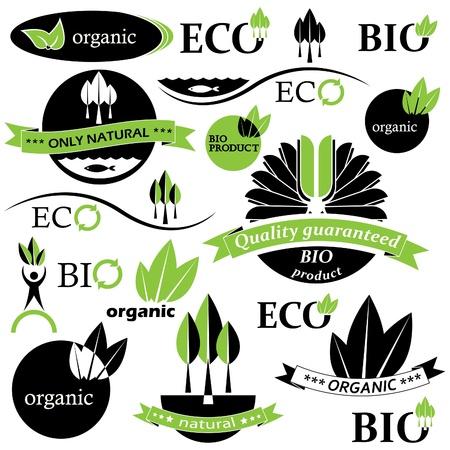 land mark: Conjunto de insignias bio y org�nicos y la ilustraci�n etiquetas