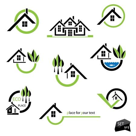 maison: Ensemble d'ic�nes maisons � l'immobilier d'entreprise sur fond blanc. Avec des �l�ments naturels