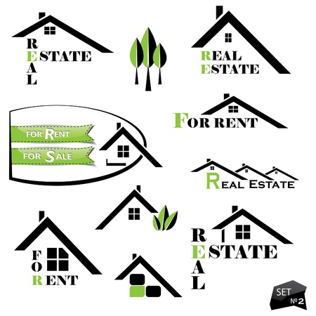 Set of houses icons for real estate business on white background. With natural elements Vector