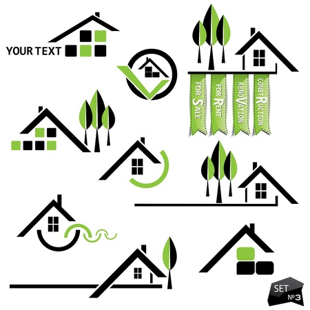 restore: Set of houses icons for real estate business on white background. With natural elements