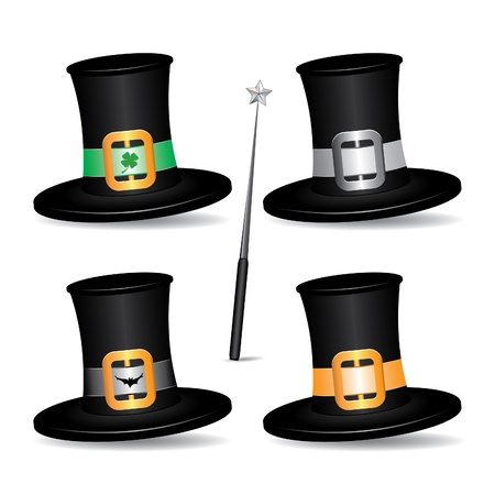 Set of Hats with Magician Wand, icon isolated on white background, vector illustration Vector