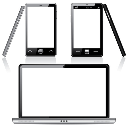 Set of Laptop and Smartphone with Blank Screens, isolated on white background Stock Vector - 17907249