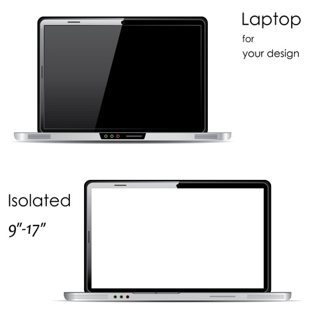 ultra: Laptops with blank and black screens, isolated on white background