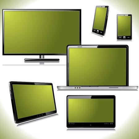 一連のコンピューター デバイス - ノート パソコン、モニター、タブレット PC、スマート フォン色スクリーン分離した白い背景の上で