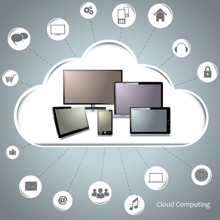 security monitor: Cloud computing concept Illustration