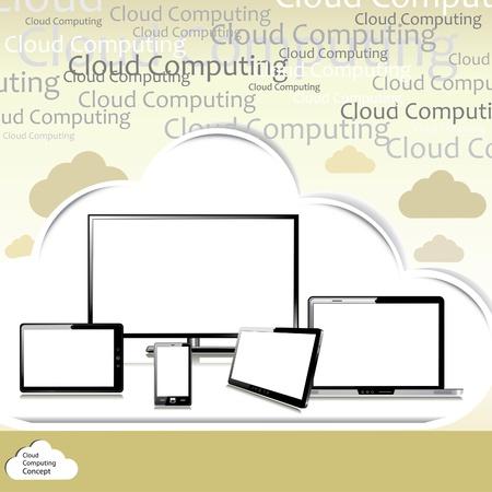 note pc: Cloud computing concept Illustration