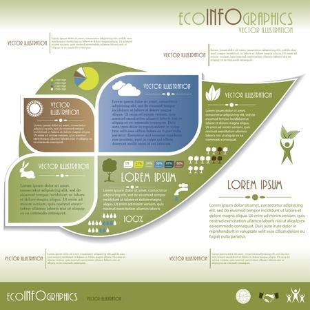 icono ecologico: Modernos infograf�a Ecolog�a plantilla de dise�o Ilustraci�n vectorial