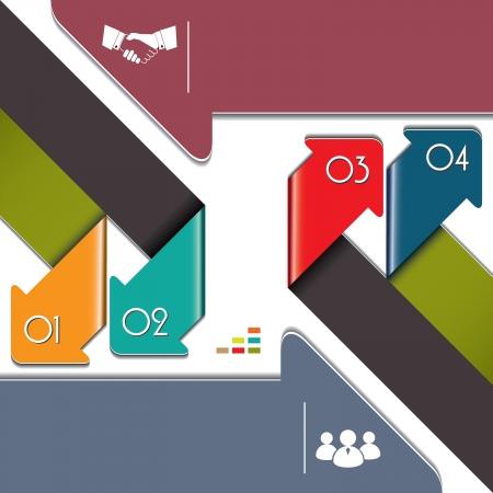 インフォ グラフィック テンプレート ベクトル図含まれている六つの色の近代的なカラフルな矢印  イラスト・ベクター素材