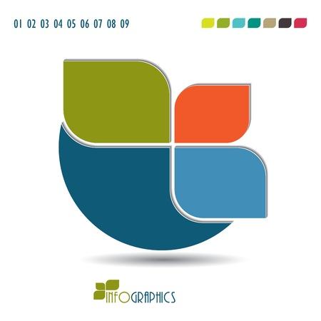 folleto: Infograf�a plantilla Ilustraci�n vectorial Modern siete colores incluido