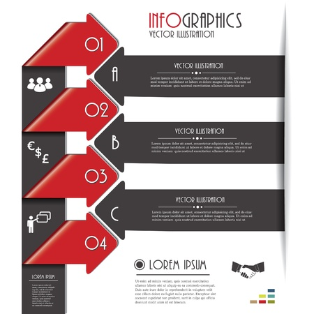 Modern arrows for Infographics template with letters and numbers  Vector illustration  Six color included Stock Vector - 18982872