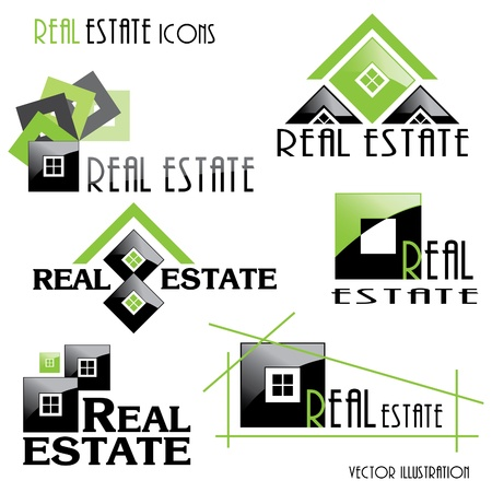 house clip art: Modern Real estate icons for business design  Vector illustration