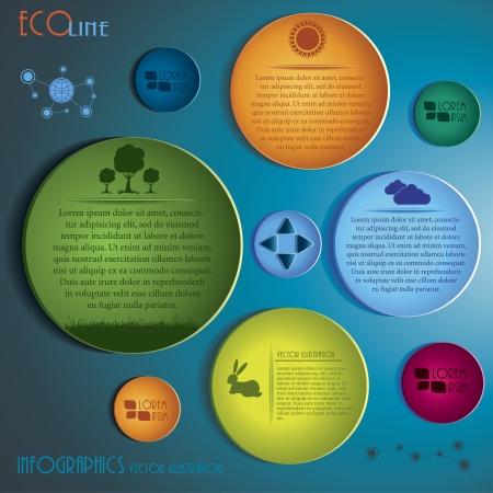 Modern Infographics template  Eco concept design illustration  イラスト・ベクター素材