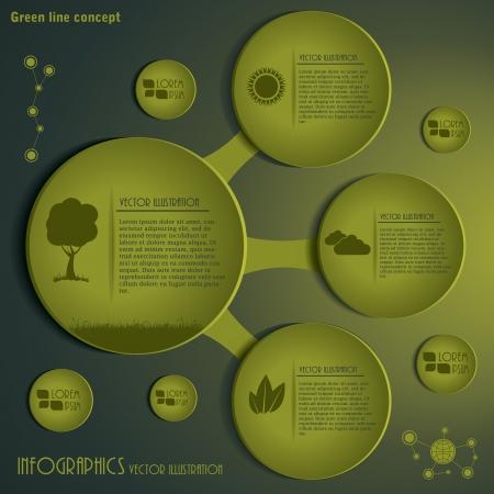 モダンなインフォ グラフィック テンプレート グリーン コンセプト設計図  イラスト・ベクター素材