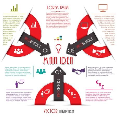 モダンなインフォ グラフィック テンプレート含まれている 6 色のビジネス設計図