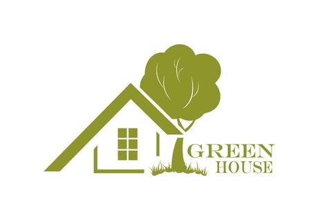 緑の家アイコン イラスト エコ フレンドリーな家  イラスト・ベクター素材