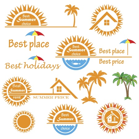 warm house: Set of season summer emblems, design elements related to travel, vacation and real estate business