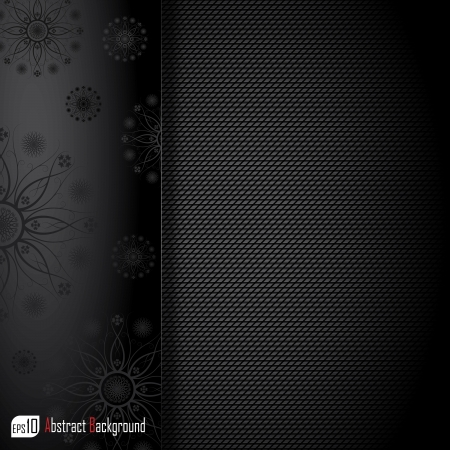Realistic dark carbon with floral texture   Vector