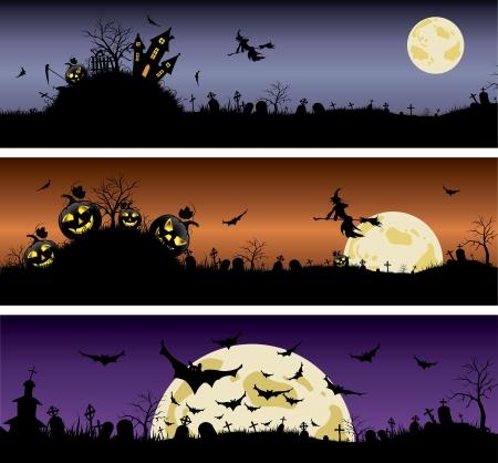 haunted tree: Set of Halloween night banners