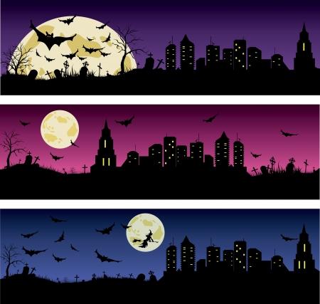 Set of Halloween night banners