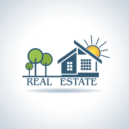 illustration  for Real estate business design with trees and sun