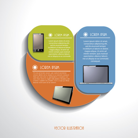 phone number: Modern Infographics template with computer devices   Illustration