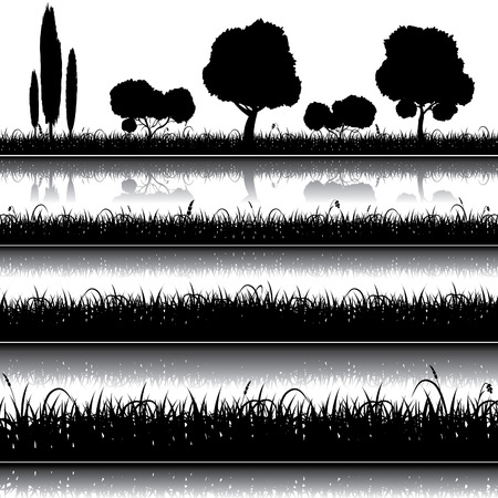 草、茂みや木のシルエットと自然のセット