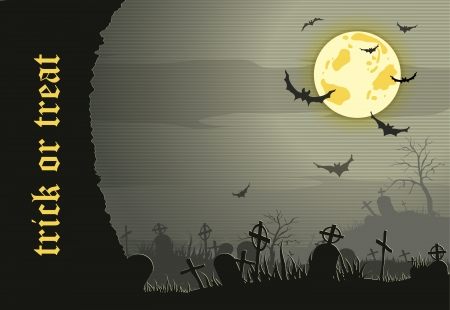 Abstract Halloween night background  with  graveyard and bats Vector
