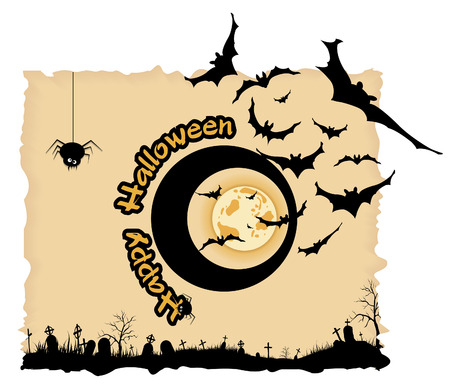 Abstract Halloween night background  with  graveyard, bats and spiders Vector