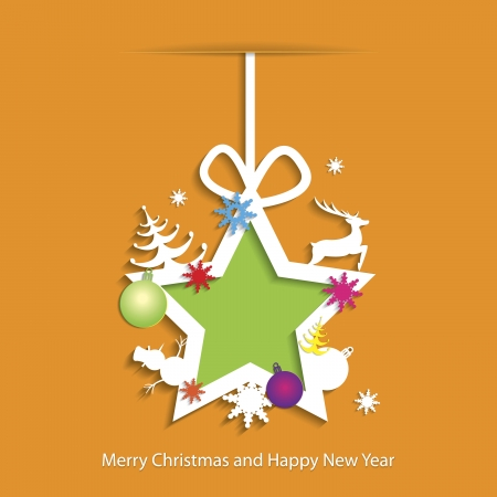 Abstract Christmas background with star and christmas toys Vector