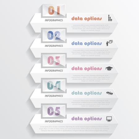 Web デザイン、グラフィックや web サイトのレイアウト、図、番号のオプション、教育プロセスの番号図と現代のインフォ グラフィック デザインを使