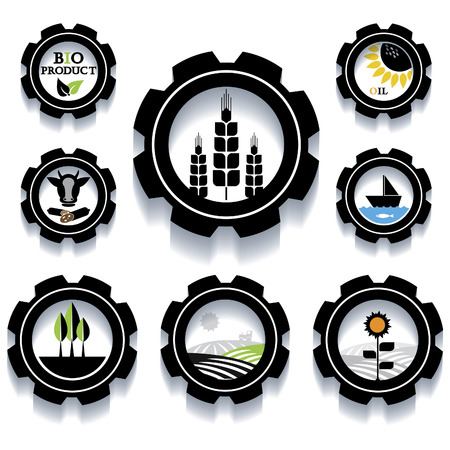 toothed: Set of Industrial and agricultural icons