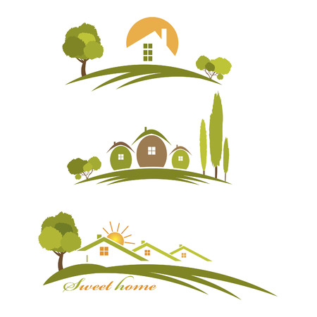 cottage garden: Illustration landscape with houses and trees Illustration