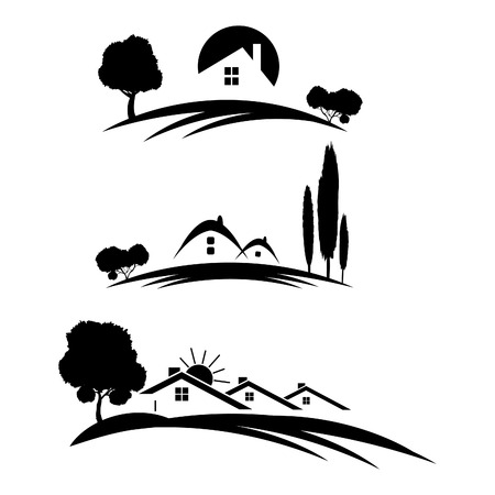 Set of houses icons for real estate business with trees on white background  Vector