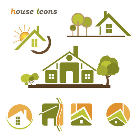 renovation house: Set of houses icons for real estate business on white background  With natural elements