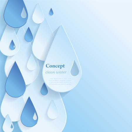 Concept clean water White and blue water vector paper drop with shadow
