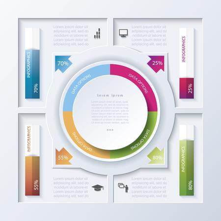 Web デザイン、ワークフローまたはグラフィックのレイアウト、図、番号オプション、教育、プレゼンテーションの抽象的なベクトル デザイン イン