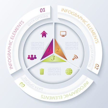 Abstract infographic design with circle and three segments  Vector illustration can be used for web design,  workflow or graphic layout, diagram, numbers options, education, presentation