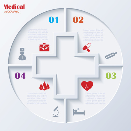 Abstract concept of medicine with  medical and healthcare icons and background  Vector illustration