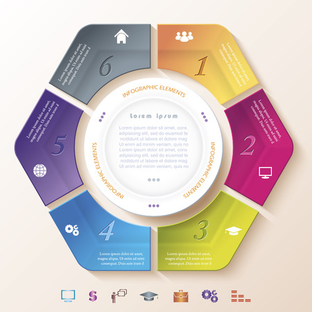 segments: Abstract infographic design with circle and six segments  Vector illustration can be used for web design,  workflow or graphic layout, diagram, numbers options, education, presentation