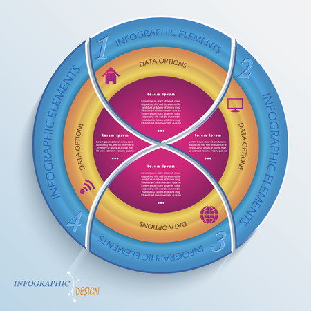 arrow circle diagram: Abstract vector design circle infographic with four segments Illustration