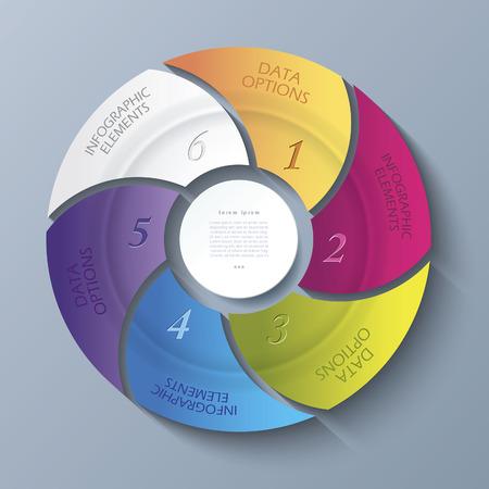ビジネスのプロジェクトまたは 6 円とプレゼンテーションの抽象的な現代テンプレート セグメント ベクター web デザイン、ワークフローやグラフィ