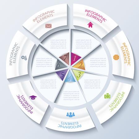 segmento: Plantilla moderna abstracta por un proyecto empresarial o la presentación con el círculo y siete segmentos ilustración vectorial se puede utilizar para el diseño web, flujo de trabajo o el diseño gráfico, diagrama, educación Vectores