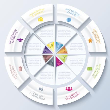 Web デザイン、ワークフローやグラフィックのレイアウト、図、教育にビジネスのプロジェクトまたはプレゼンテーション サークルと 8 つのセグメン
