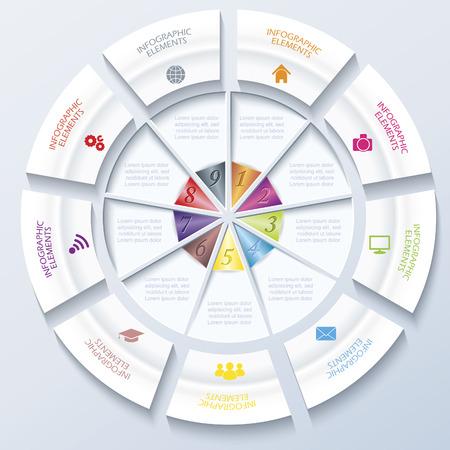 ビジネスのプロジェクトまたは円と 9 プレゼンテーションの抽象的な現代テンプレート セグメント web デザイン ワークフローまたはグラフィックの