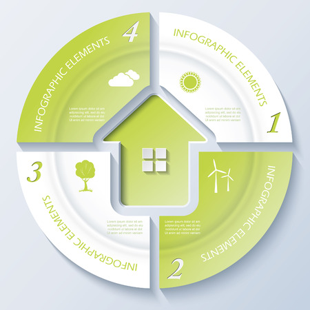 letting: Abstract modern template for real estate business or presentation with circle and four segments  Vector illustration