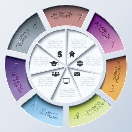 segment: Abstract modern template for business project or presentation with circle and seven segments.